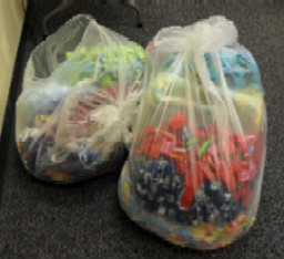 Project Linus bags of donated blankets