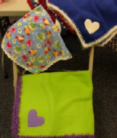 Project Linus blankets -- little heart fleeces