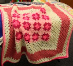Project Linus blanket -- red pink and white crochet
