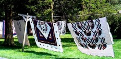 Amish quilts on a clotheline in Lancaster County