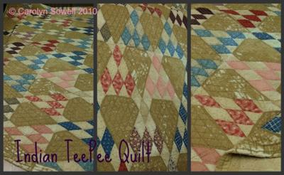 Old and worn, but well-loved Indian TeePee quilt