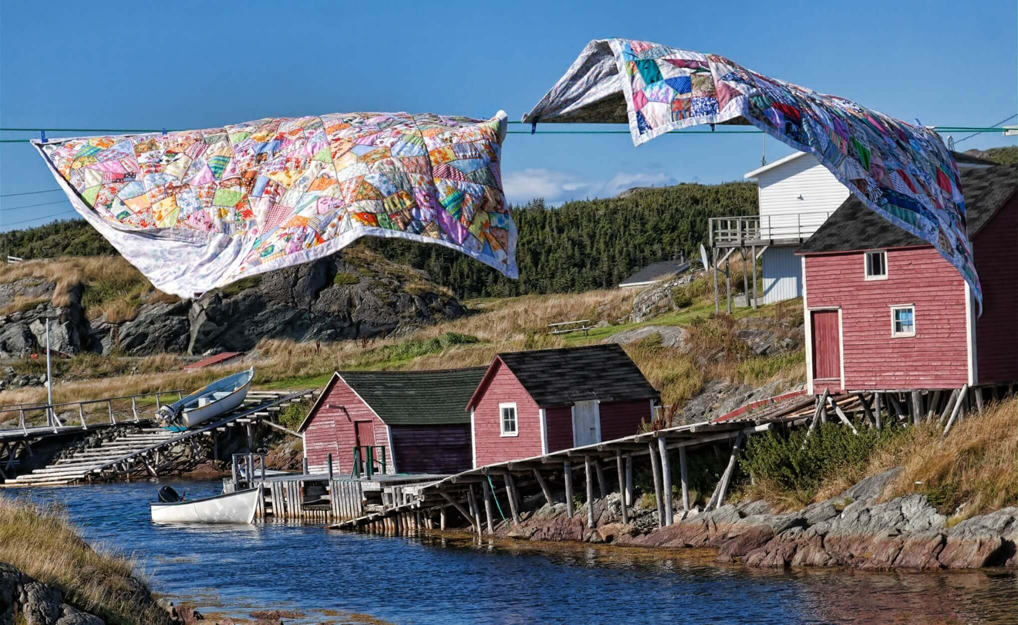 Quilts flapping on the clothesline