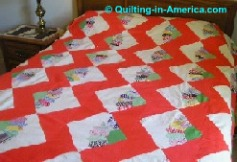 Vintage Dresden Fan Quilt on Queen-size bed