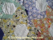 Vintage Star Flower quilt blocks closeup