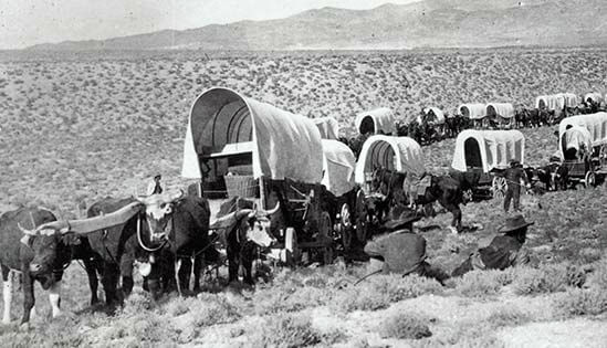 Wagon train moving west