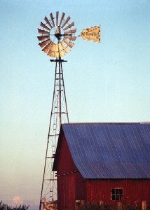 Amish Windmill and Red Barn