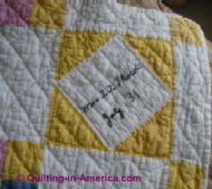 Signature block of friendship quilt