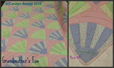 Mother's precious Grandmother's Fan Quilt
