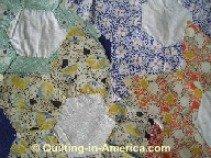 Vintage Star Flower quilt blocks closeup